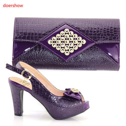 good purple Italian Matching Shoes And Bag Set African Style Ladies red Shoes And Bag To Match For Wedding Dress PAB1-8