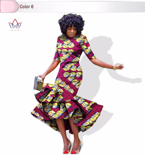 African bazin riche printed Dress For Women,Dashiki Dress,African Dress,African Clothing - Owame
