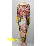African Clothing Plus Size Traditional Bazin Print Super Stretch Long Dress - Owame