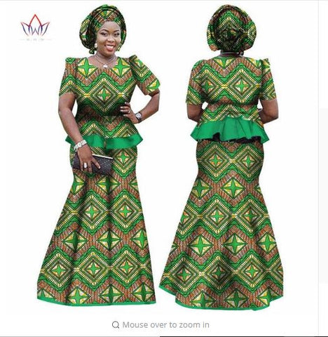 Image of African Women Skirt and Blouse, headwrap Set, Customize African clothing plus size Ankara dress