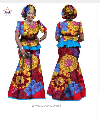 African Women Skirt and Blouse, headwrap Set, Customize African clothing plus size Ankara dress