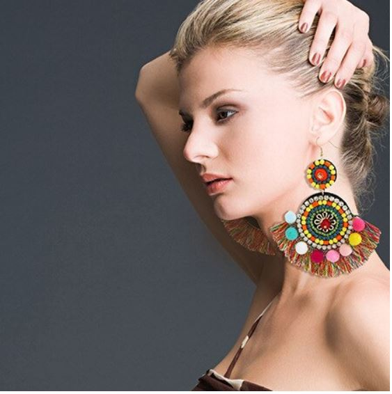 Best lady New Fashion Multicolored Tassel Big Dangle Earrings Women Female Gifts Boho Wedding Drop Earrings Jewelry Wholesale