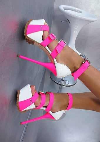 fashion sexy platform sandal mixed colors buckle strap high heel sandal sexy open toe cutouts gladiator sandal 16cm sandal