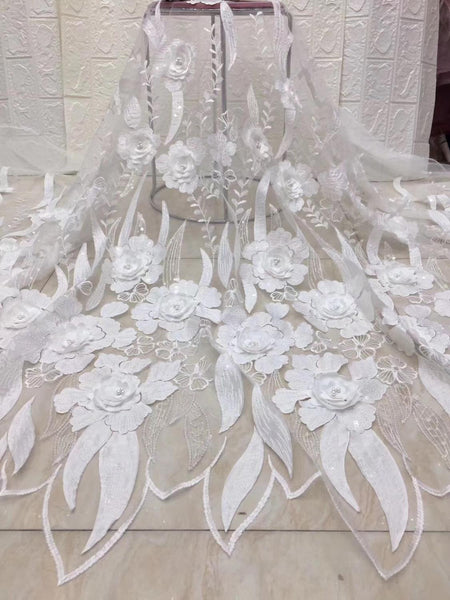 french lace fabric beaded 3d flowers fabric white high quality african tulle lace fabric Ivory voile lace switzerland ZP994