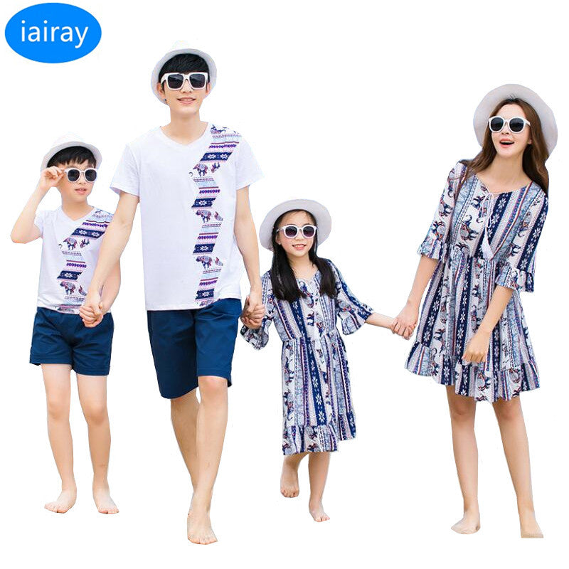 00646ee7dc3f5 iairay family matching outfits summer 2018 mother daughter dresses bohemian  style women casual loose long ethnic beach dress