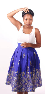 Women Embroidered Full Midi african print Skirt