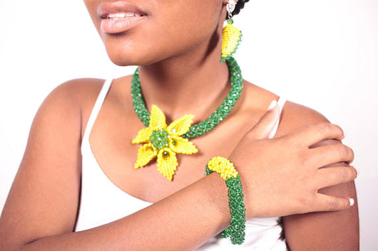 African Beads Necklace,Earring and Bracelet Jewelry Sets