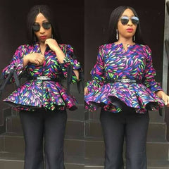 African flay blouse top, ankara print, African clothing, African casual wear, African party wear.