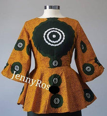 READY TO SHIP-African clothing Top, African print peplum top, Ankara boho sleeves Top, Ankara blouse - Available in Size 0-20