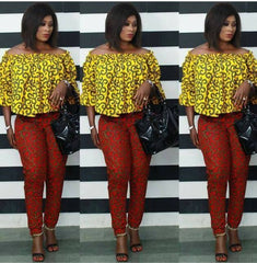 African mixed colour pant and top, ankara print, African party wear, African clothing