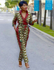 African jumpsuit with two sides pocket, ankara print, African party wear, African clothing