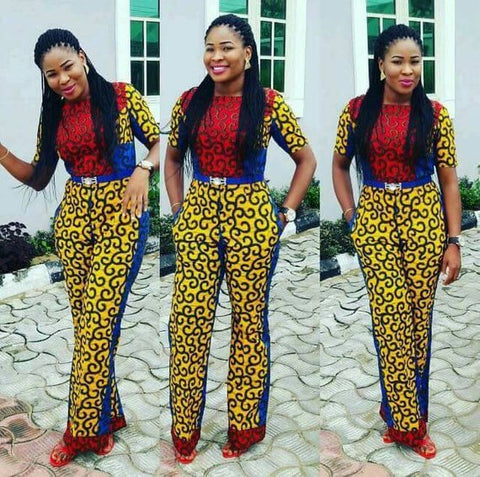 African mixed colour jumpsuit with two sides pocket, ankara print, African party wear, African clothing