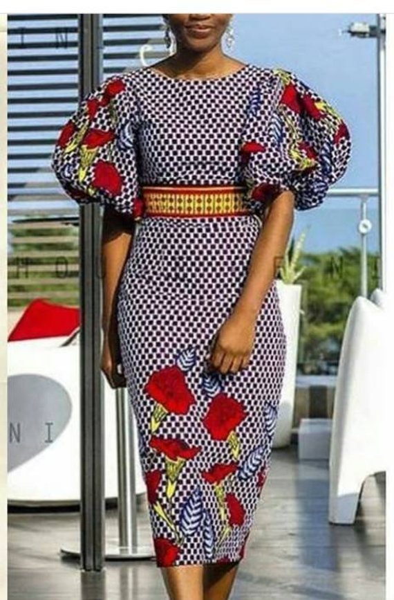 6240b7133f African print midi dress-Mid calf dress-Ankara dress -Ankara midi dress-