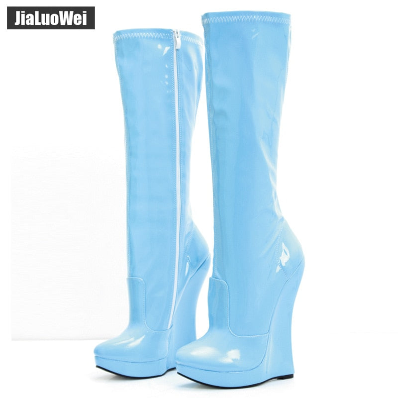 53ef7450066a jialuowei 18cm Extreme High Heel Wedge heel 3cm Platform Pointed Toe Women  PU Leather Side Zipper Sexy Fetish Knee-High Boots