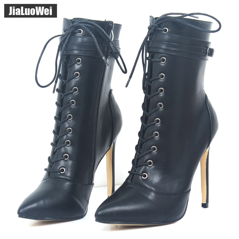 80350221c21 jialuowei Brand New Fashion Women Boots 12CM High Heels Sexy Fetish Pointed  Toe Ankle Boots Ladies Shoes Botas Mujer Plus size