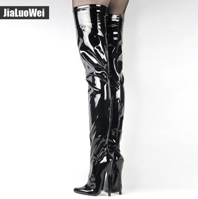 ee43b30924 jialuowei Fetish Thigh High Boots Women 7 inch/18 cm Extreme High Heels  Sexy Stiletto Thin Heel Over-The-Knee Zip Crotch Boots