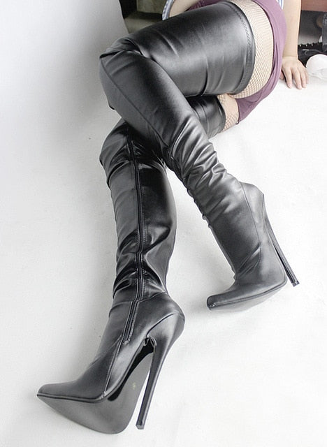 The Zip Heels Stiletto Jialuowei Knee Cm Thigh Fetish Heel 7 Boots Women Inch18 Over Extreme Crotch Sexy High Thin vY7bfg6y
