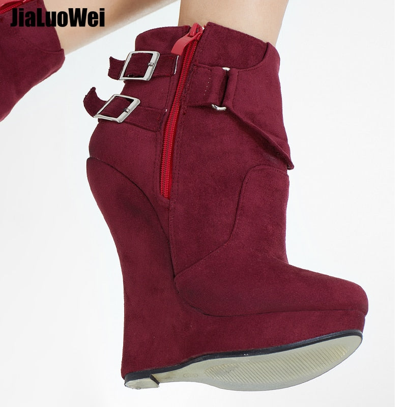 Sexy Jialuowei Wedge Inch Platform High Straps 46 Heeled Buckle 7 36 Fetish Ankle Size Heel Boots Women Extreme toCxshQrBd