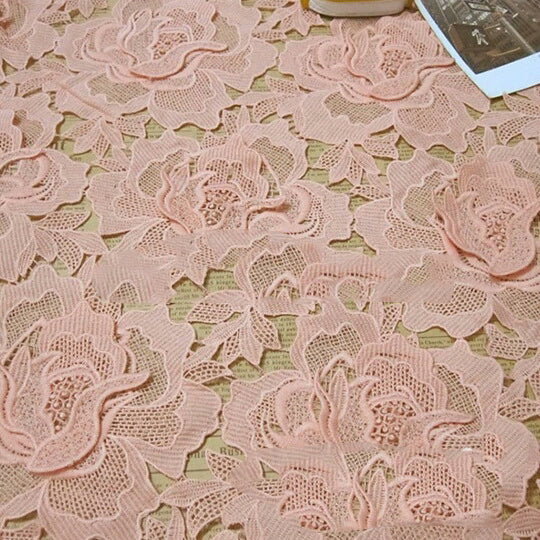 lace Elastic high quality african lace fabric, cotton cord lace,guipure lace fabric with  for wedding dress peach color BC23