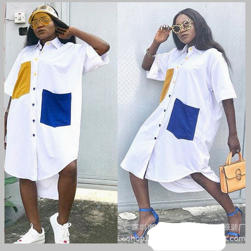 ladies african dresses 2018 autumn winter fashion africa white shirt dress  plus size casual street loose print dresses