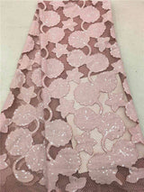 latest Handwork Embroidery 3d applique Tulle lace with beads african 3d fabrics with sequins french tulle sequin lace fabric
