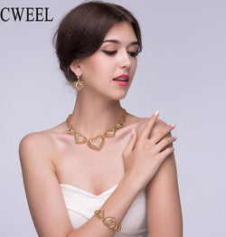 CWEEL Women Wedding Jewelry Sets For Bride Nigerian African Beads Jewelry Set Heart Dubai Gold Color Fashion Jewelery Sets