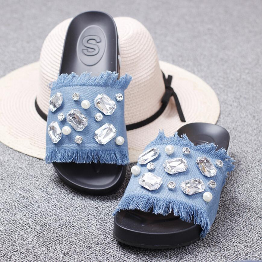 d010cdd87 luxury crystal jeans flip flops women big rhinestone pearl platform sandals  tassel denim gladiator sandals women ...