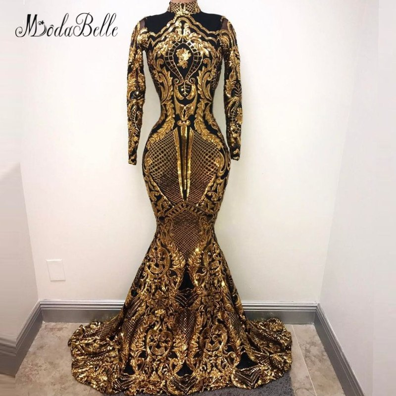 6bc4505ad7f52 modabelle Ladies Long Sleeves Sequin Evening Dress Black Gold 2018 Arabic  Abend Kleider Lange Formal Dress Women Party Gown