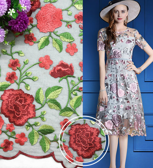 mylb Coloured water soluble lace fabric colored polyester silk cloth mesh lace embroidery lace gauze dress cloth