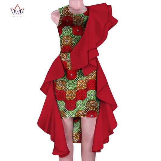new Women Clothing African Dresses for Women Print Draped Dresses Vestidos Bazin Riche African Ankara Party short Dresses WY5468