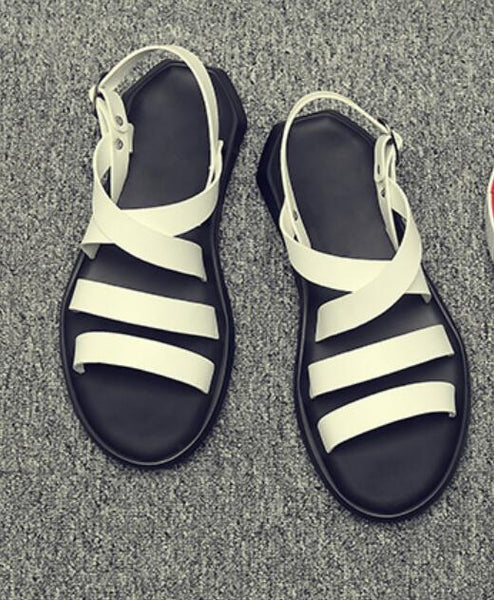new design male gladiator sandals shoes rome fashion cut out summer beach sandals shoes black white casual flats shoes size 44