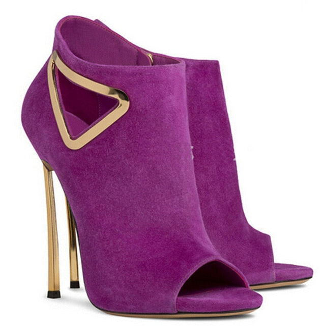 f6acca9ea ... new design peep toe cut-outs sequined decor ankle boots woman suede  leather gold metal