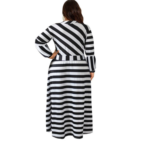 new style African Women clothing Dashiki classic Print elastic cloth stripe Long sleeve long dress Plus Size L to 5XL  7080