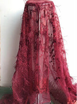 nice looking feather embroidery tulle mesh lace fabric mo8 with good quality for party dress