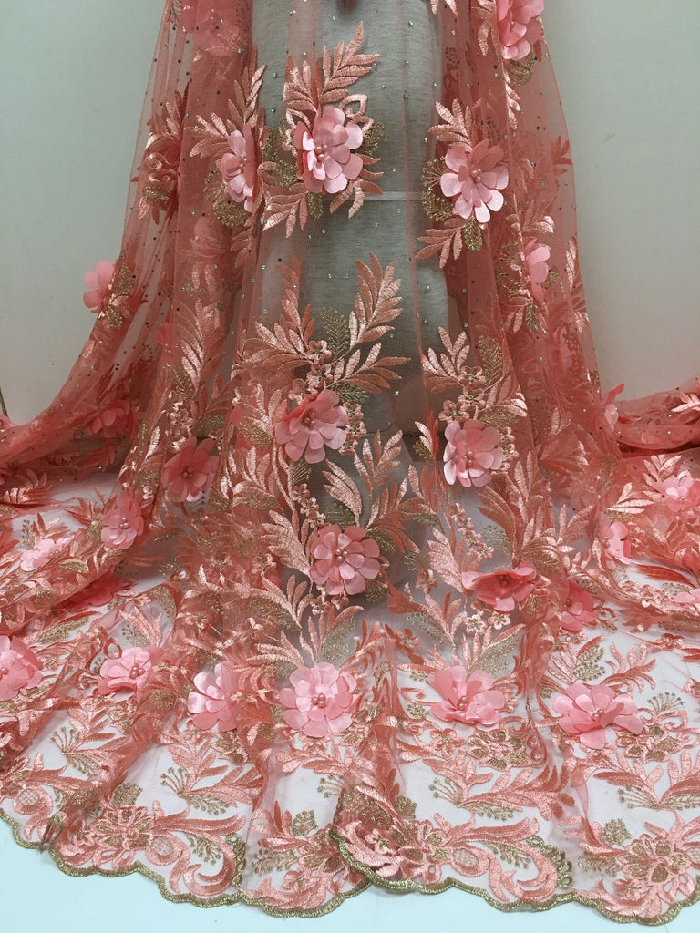 0ad54cfec3 pink color Tulle French Luxury Embroidery Bridal Wedding Beaded Lace Trim  Fabric 3D Decoration.Free shipping FC17-JYZ05 5yards