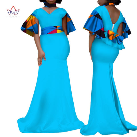 plus size women clothing Maxi Dress Dashiki african v-Neck dress for women in african clothing party long dress 4xl other WY3342
