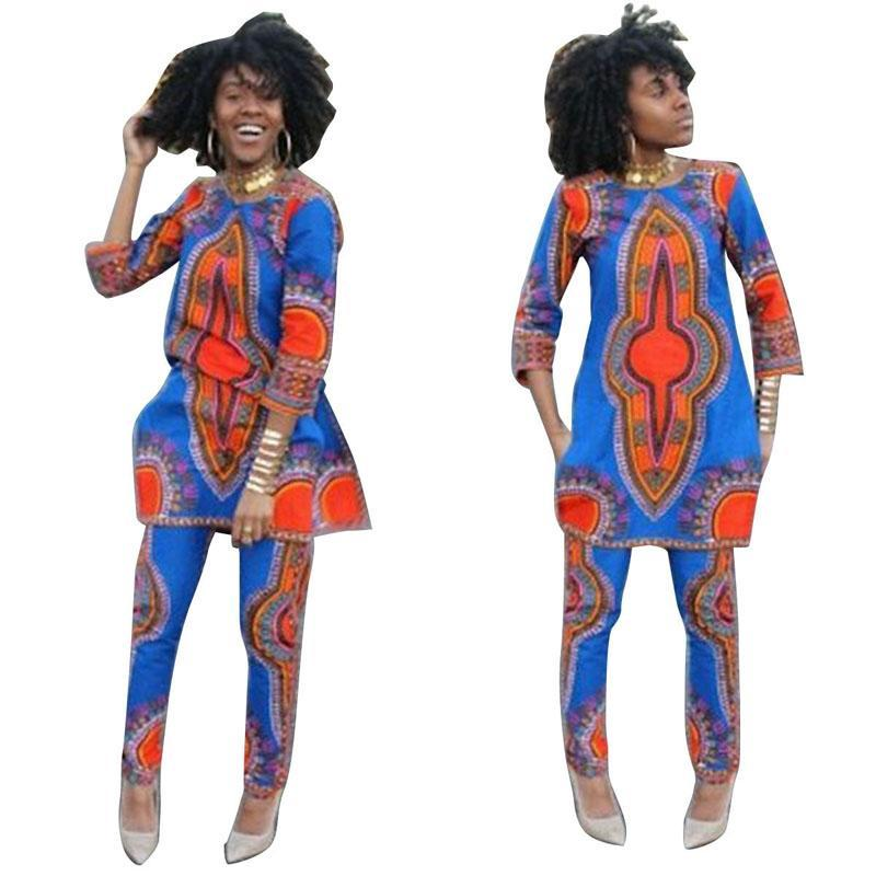 2016 new African autumn 2piece set women half sleeve long top dress and long pants sets ensemble femme vestidos casual dashiki