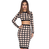 2piece women Bodycon pencil Skirt and Crop Top Clubwear Outfit