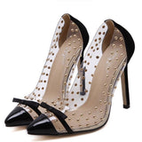Transparencies Rivets High Heels Pointed Toe Pumps Shoes - Owame