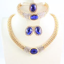 Jewelry Sets For Women Party Accessories Wedding Blue Gem Pendant Statement African Beads Crystal Necklace Earring Bracelet Ring