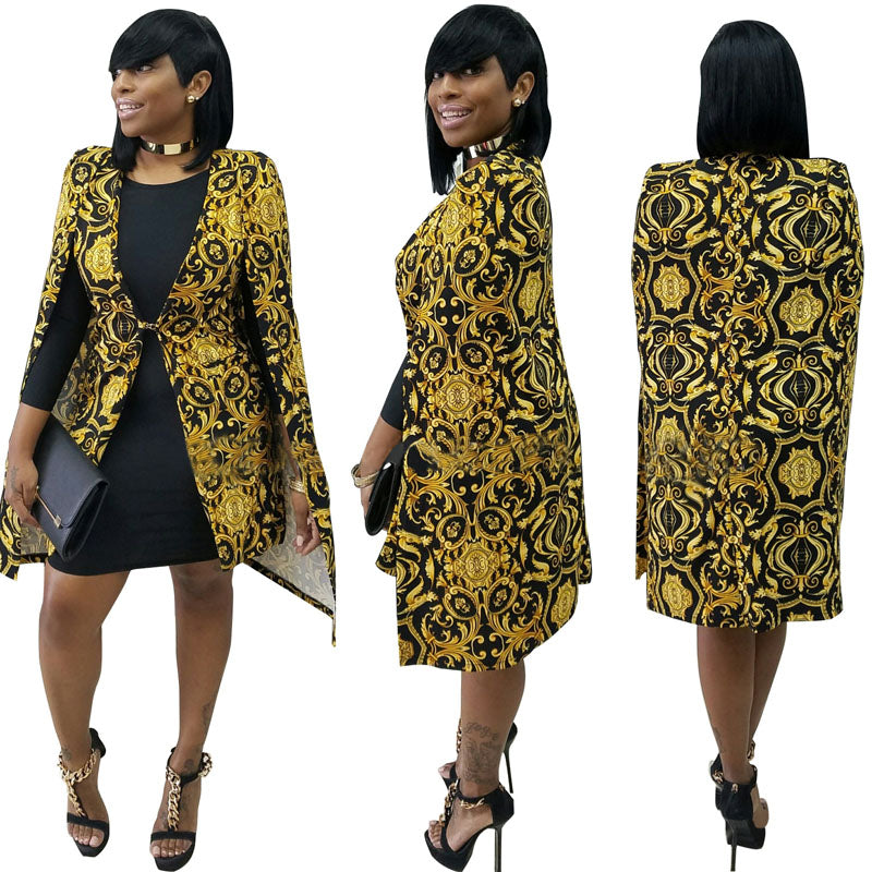 women's trench coat outerwear duster dark gold slim print sleeveless fashion sexy top clothing long woman cloak