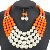 Multi Layer Pearl African Beads Necklace Set - Owame