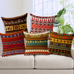 African National Wind Stripe Boximiya Linen Cotton and Linen Cushion Outer 45x45cm Throw Pillow Sofa Pads Vintage Sier Kussens