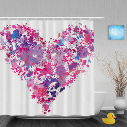 Heart Shape Paint Wedding Shower Curtain Spatter Effect Bathroom Curtains For Valentine Waterproof Polyester Fabric With Hooks