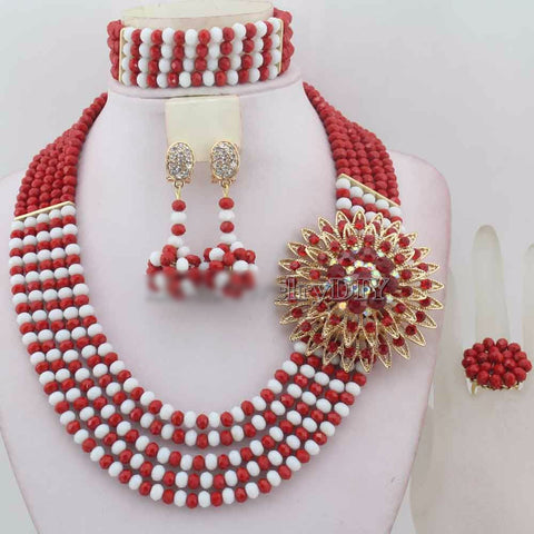 African Traditional Wedding Beads Nigeria Wedding Jewelry Set Owame