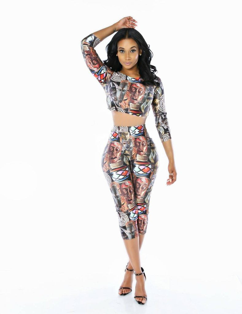 dfd28aa18c1a Women Tracksuits Sexy Skull Pattern Print Two Piece Set 2017 New Style Women s  Crop Top +