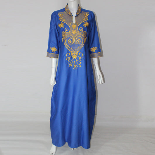 African dresses New African Vintage Embroidery Dress One Piece Long Maxi Dress Plus Size