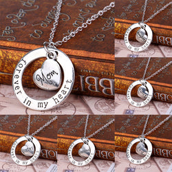 women's necklaces and pendants,Family Member Gifts Silver Plated Mom Grandma Daughter Sister Dad Heart Forever In My Heart Circle Pendant Necklace Xmas Gifts
