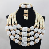 African Traditional Wedding Coral Beads Jewelry Set - Owame