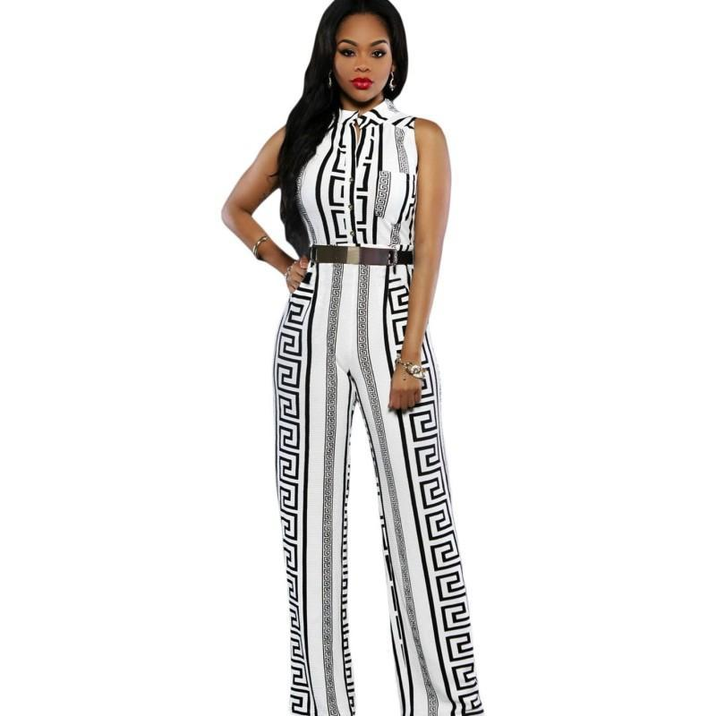 2017 African fashion print jumpsuit wide leg office work clothes plus size overalls for women sexy club jumpsuits long SA64021